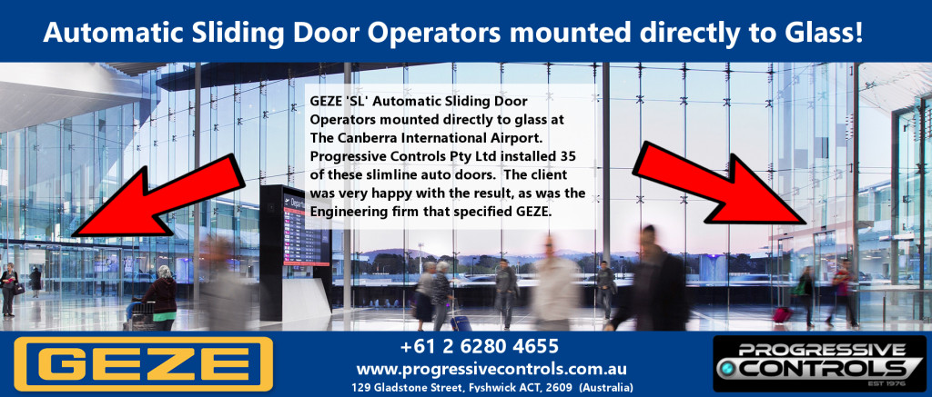 Canberra International Airport - Main Atrium GEZE SL drives mounted directly to glass