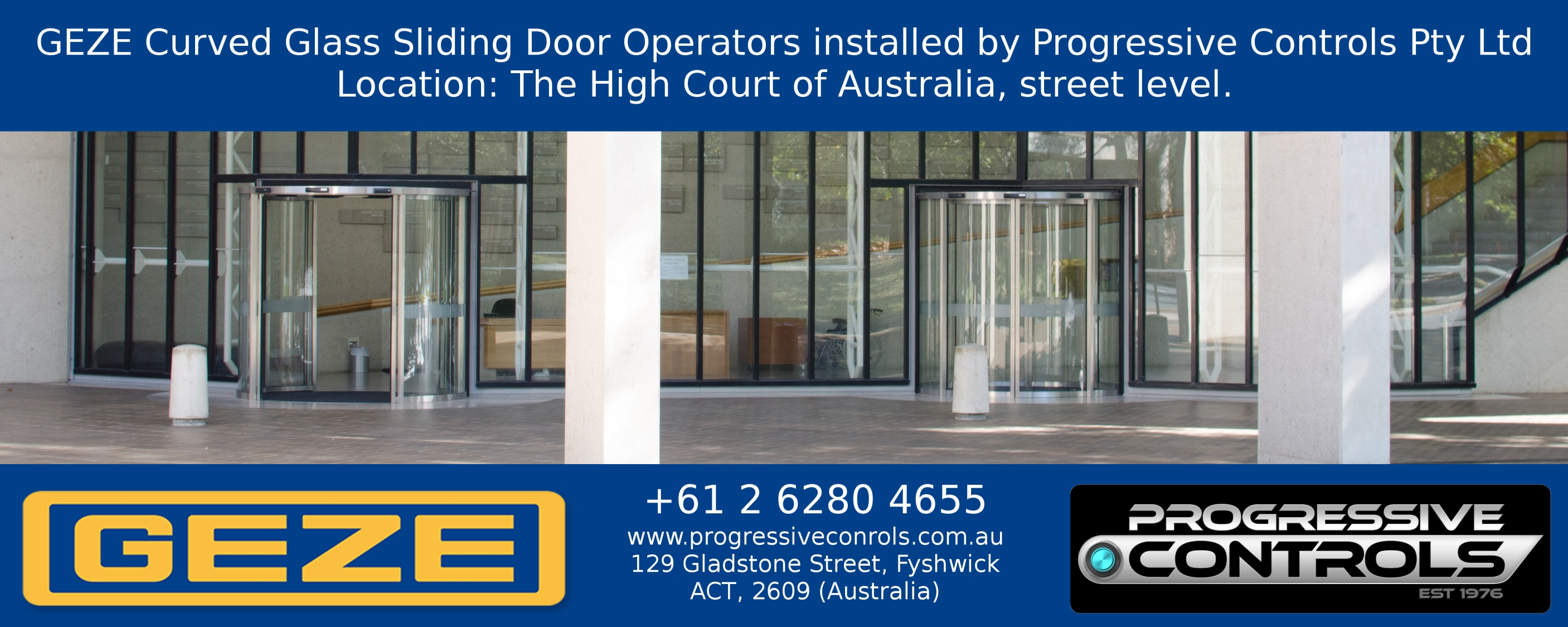 GEZE Curved Glass Sliding Door Operators installed at The High Court of Australia u2013 Canberra u2013 street-level_AUSTRALIA_LR  sc 1 st  Progressive Controls & GEZE Curved Glass Sliding Door Operators installed at The High ... pezcame.com